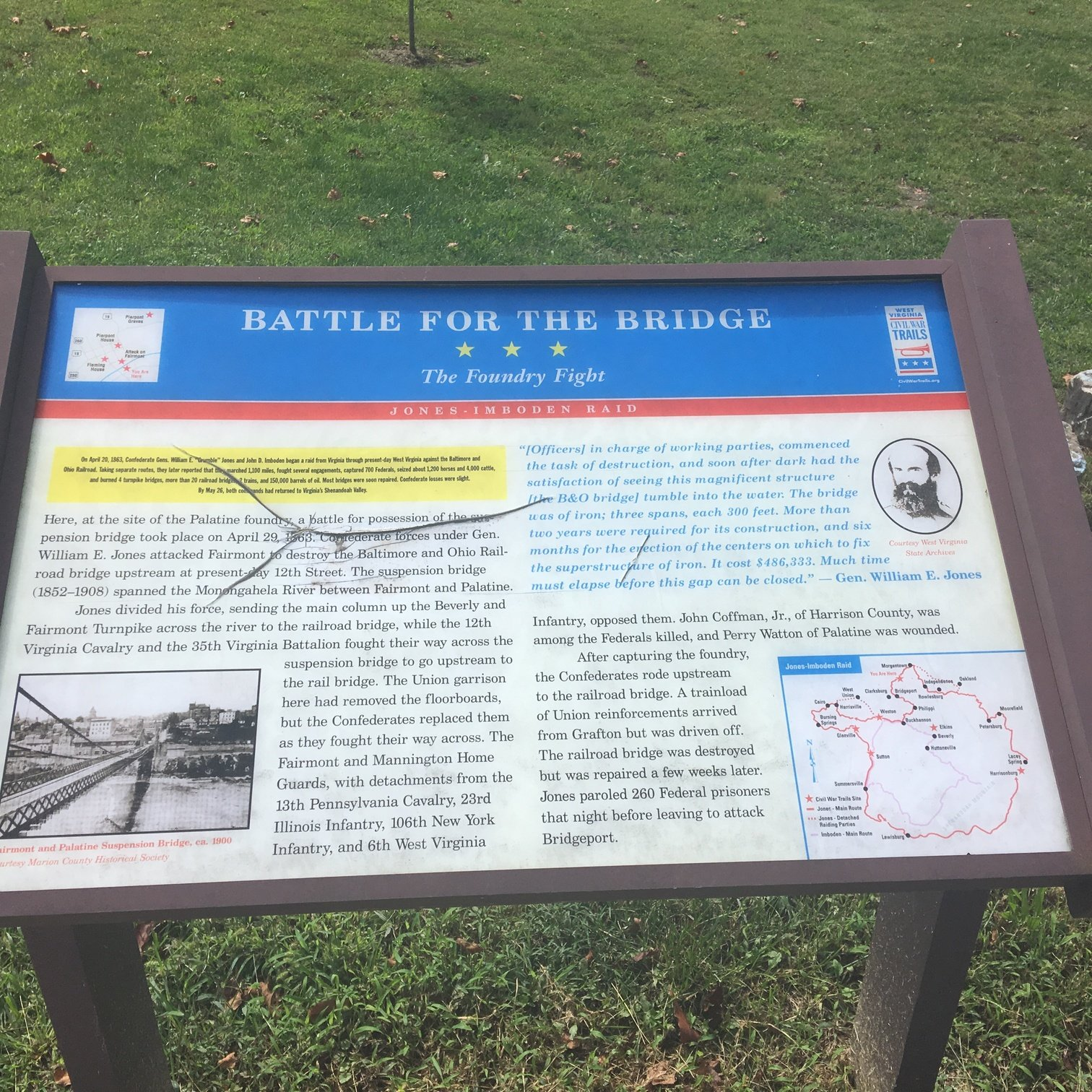 This marker lists the details of the battle and key people involved. This battle did not mark much sustained success in the region.