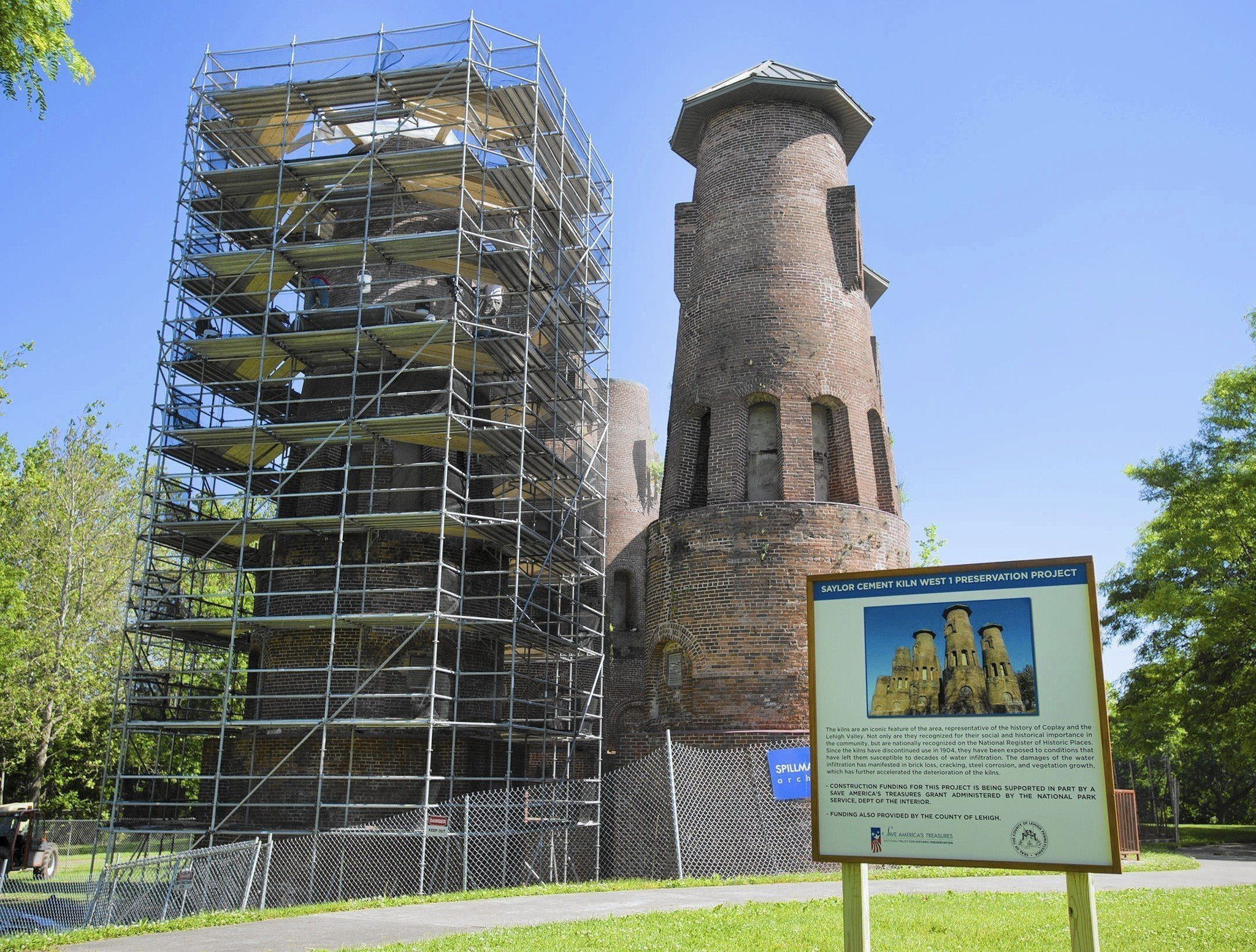 Scaffolding surrounds one of the kilns as stabilization efforts take place.