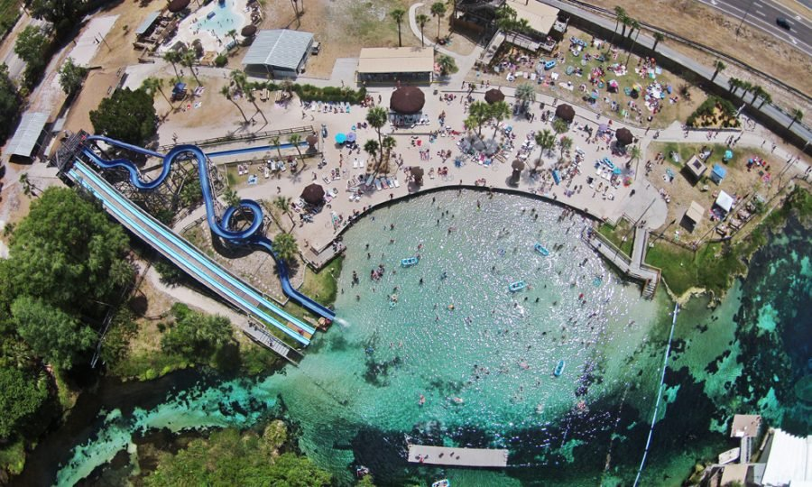Aerial view of Buccaneer Bay (the water park)