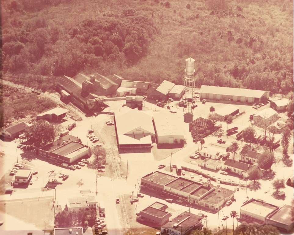 Nelson and Company Packing Plant and Wheeler Fertilizer Plant, 1973. This photograph was taken by Henry DeWolf in 1973 for an aerial survey of Oviedo.