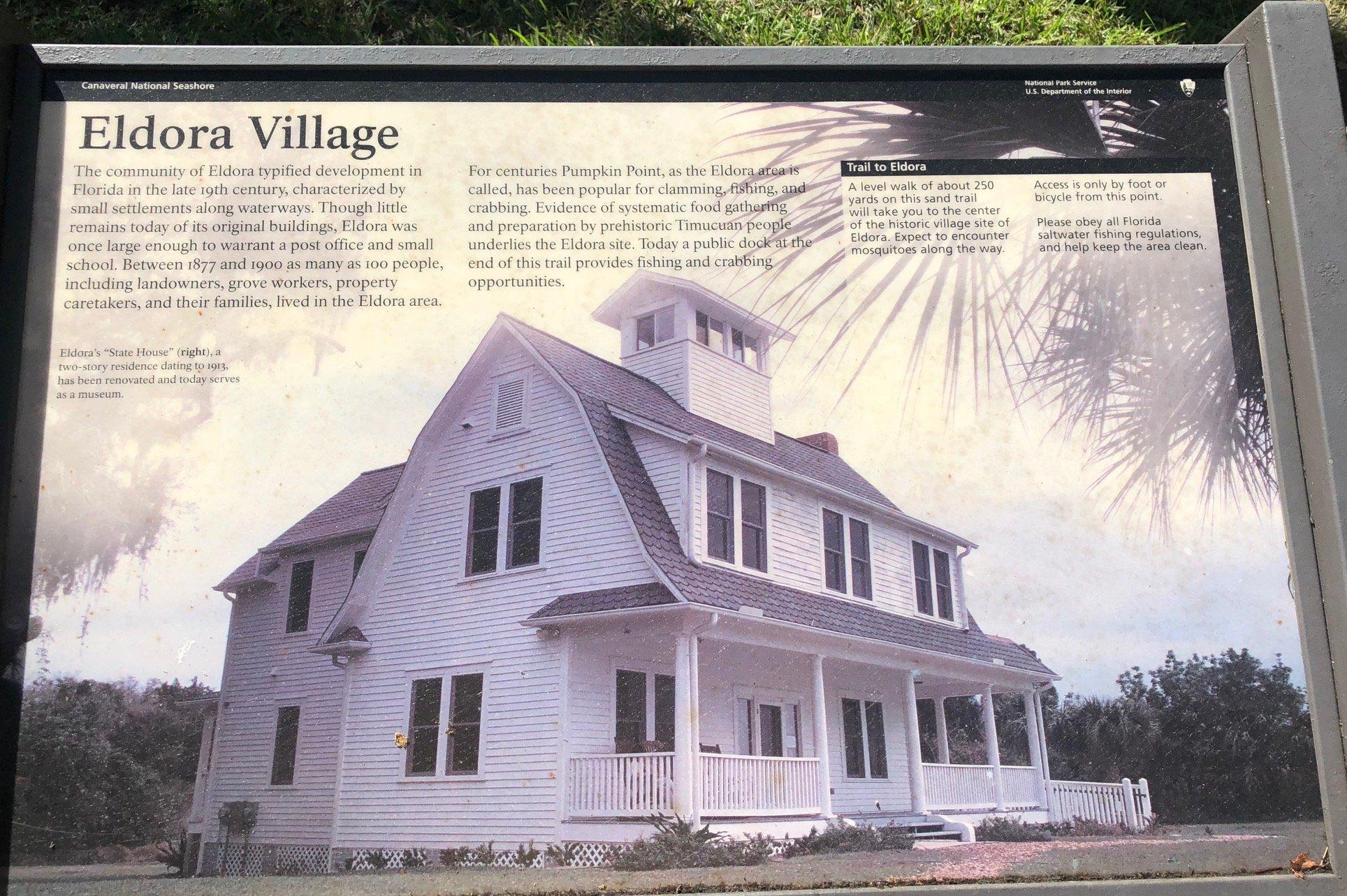 Plaque of information on the Eldora Village.