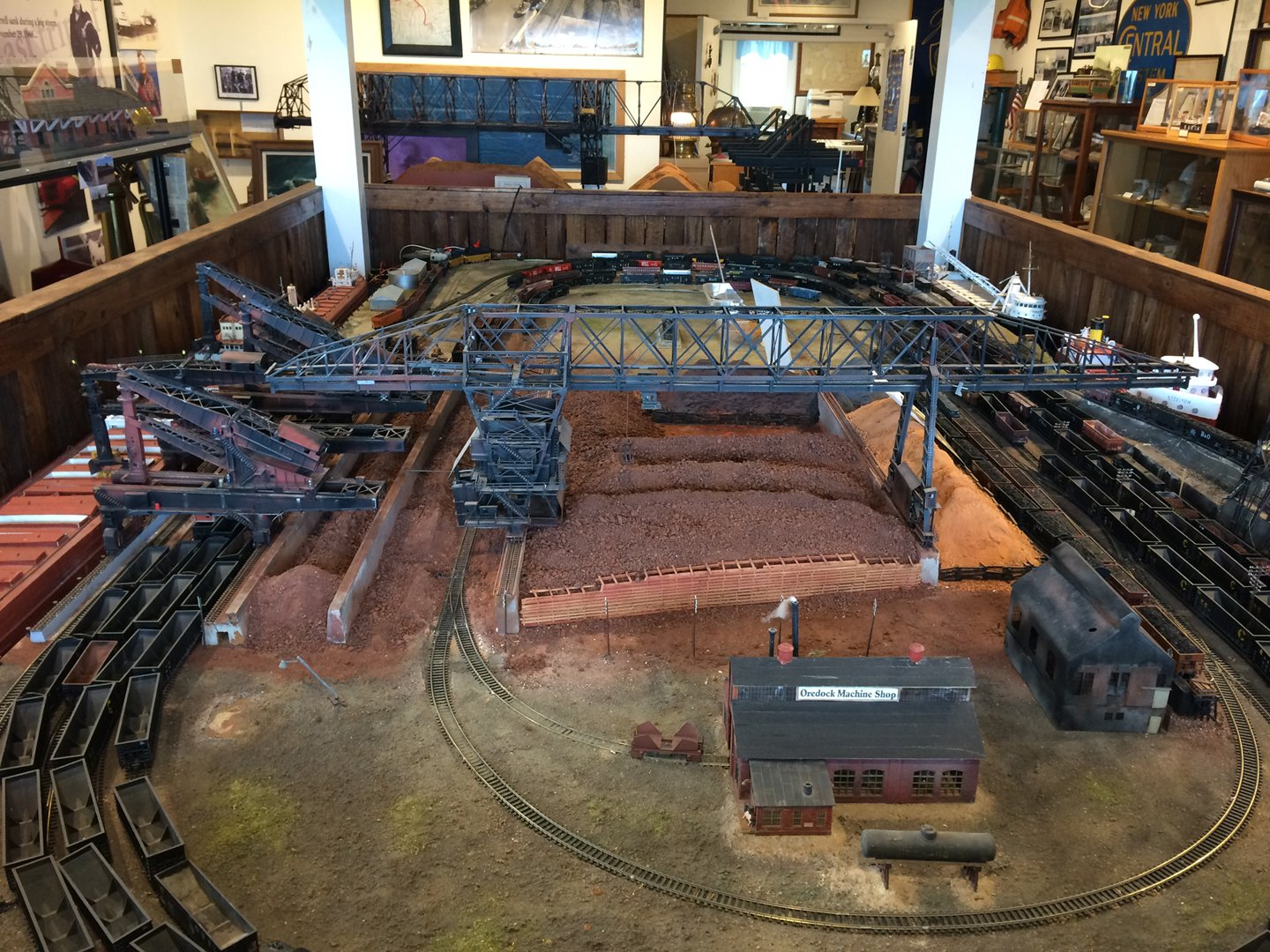 One of the museum's rooms featuring Lawson Stevenson's model of the Ashtabula Harbor in the foreground (Photo: Brianna Treleven)