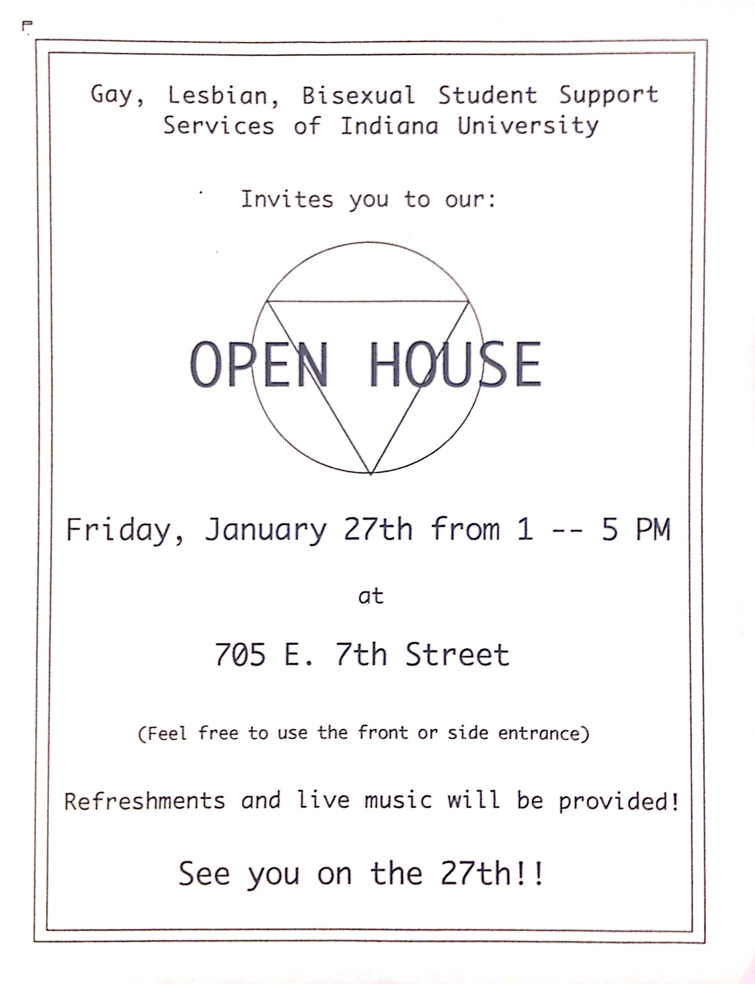 GLBSSS Open House Poster from 1995