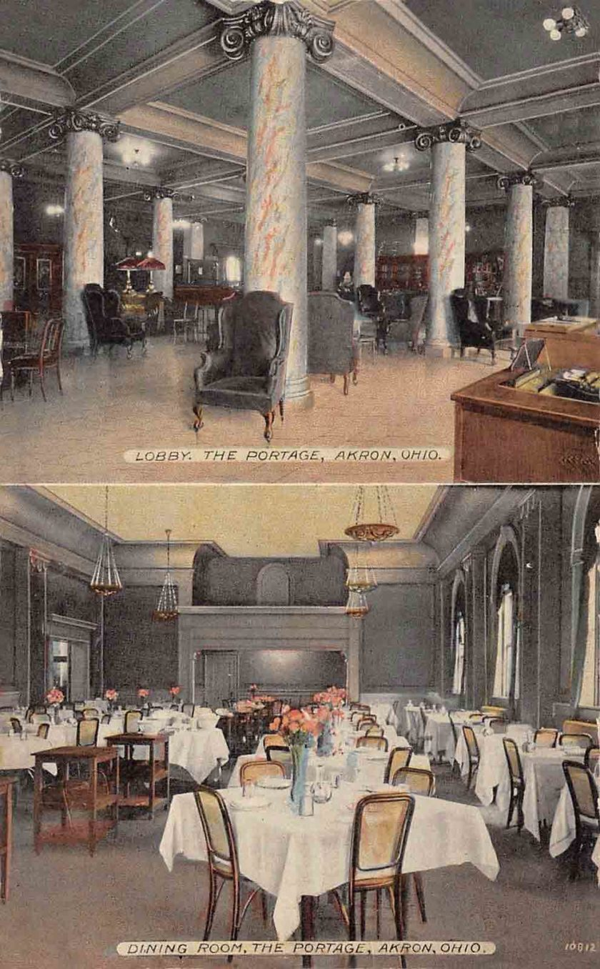 The interior of the Portage Hotel including the lobby and dining room.