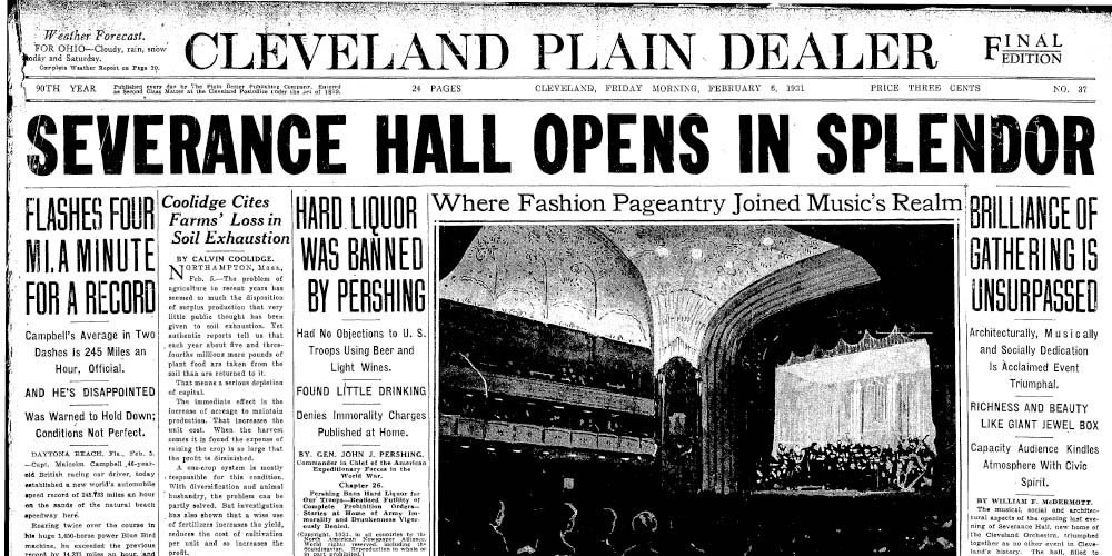 Newspaper headline of Severance Hall's opening