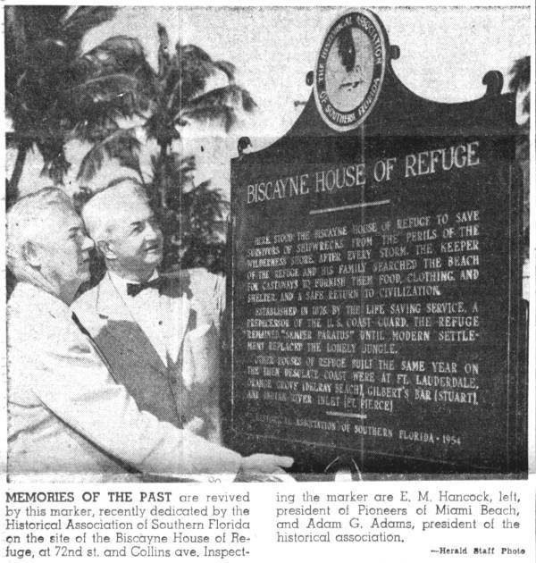 March 1954, the plaque being honored the day it was put up.