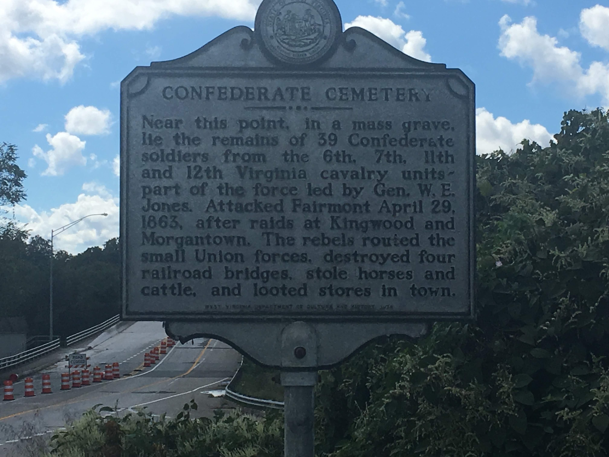 Near this marker lies a mass Confederate Grave with 39 deceased from the Battle for the Bridge.