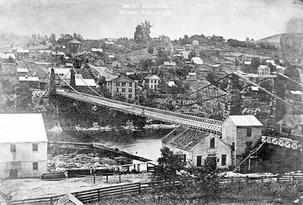 The suspension bridge that was fought for in The Battle for the Bridge, April 29th, 1863.