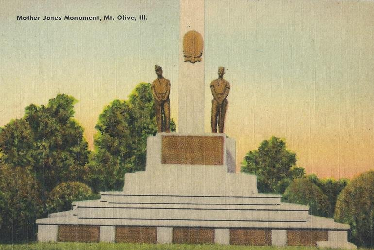 A postcard of the Mother Jones Monument from the 1940s