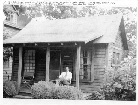 Dr. H.G. Jones in 1969 on the porch of the back cottage constructed in 1938 for use by the Local Council of Girl Scouts. Used with permission from the café's website manager.