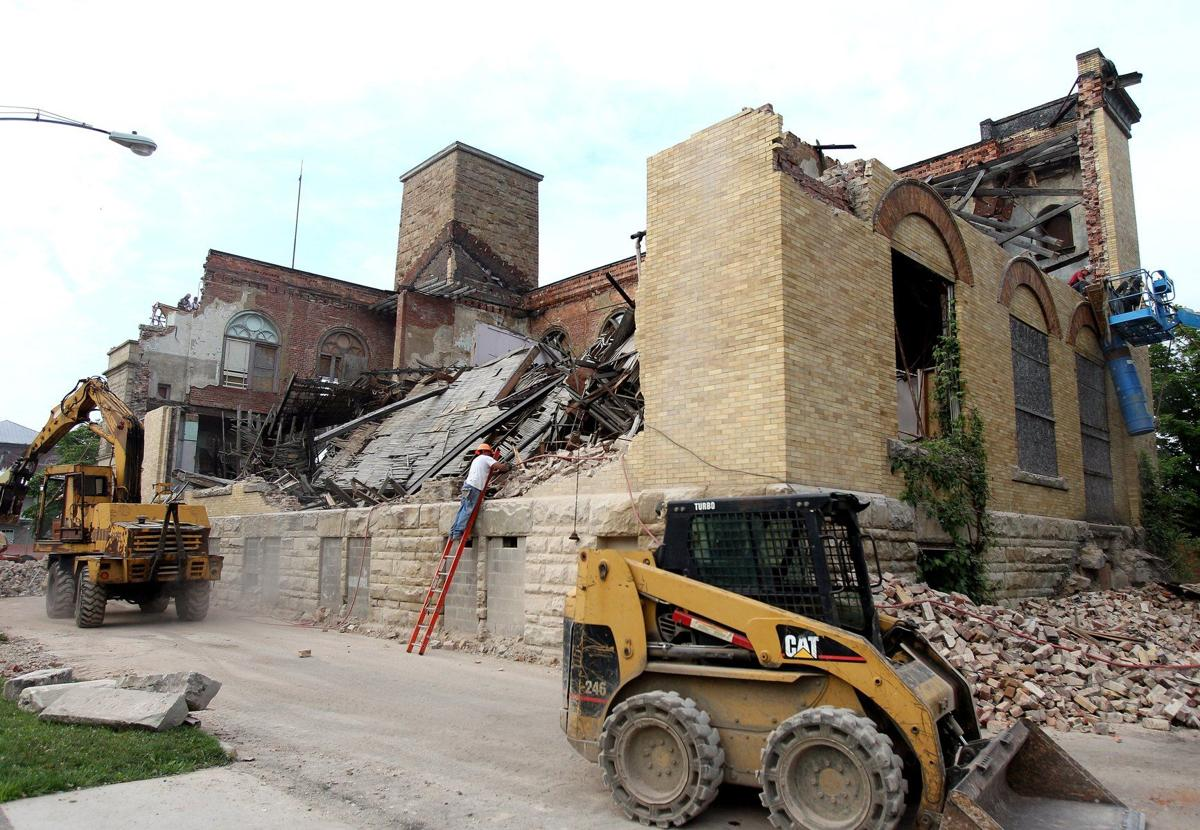 The ongoing demolition of the Memorial Hall. Wasn't a pretty site for some, but in the end, Ironton and eventually many more will not forget about the magnificent building.