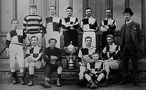 Wharton seated second from left on bottom row seen with his amateur team of Darlington