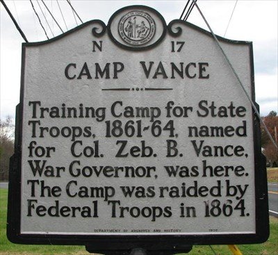Historical marker at Camp Vance