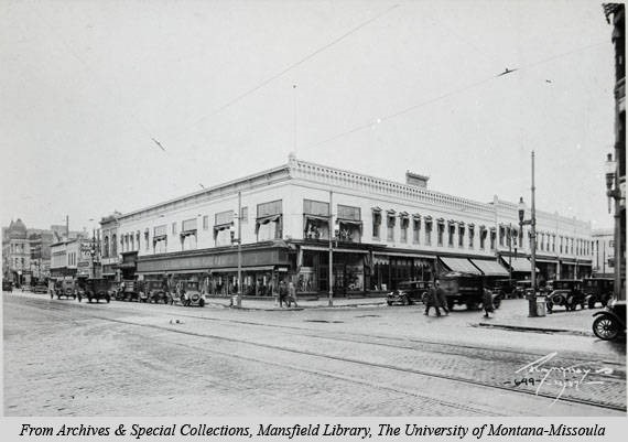Exterior shot of the Missoula Mercantile Co. circa 1927. Image courtesy of mtmemory.org