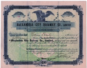 Alexandria City Railway Co. Stock Certificate located in the museum