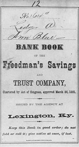 A bank passbook for Ann Blue.