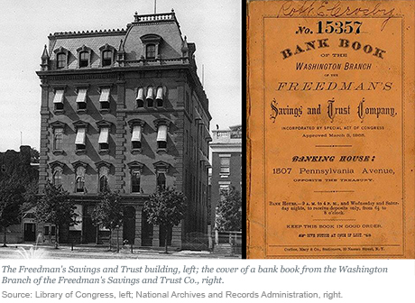 The Freedman's Savings and Trust Building and a cover of a bank book.  Source: Library of Congress and National Archives