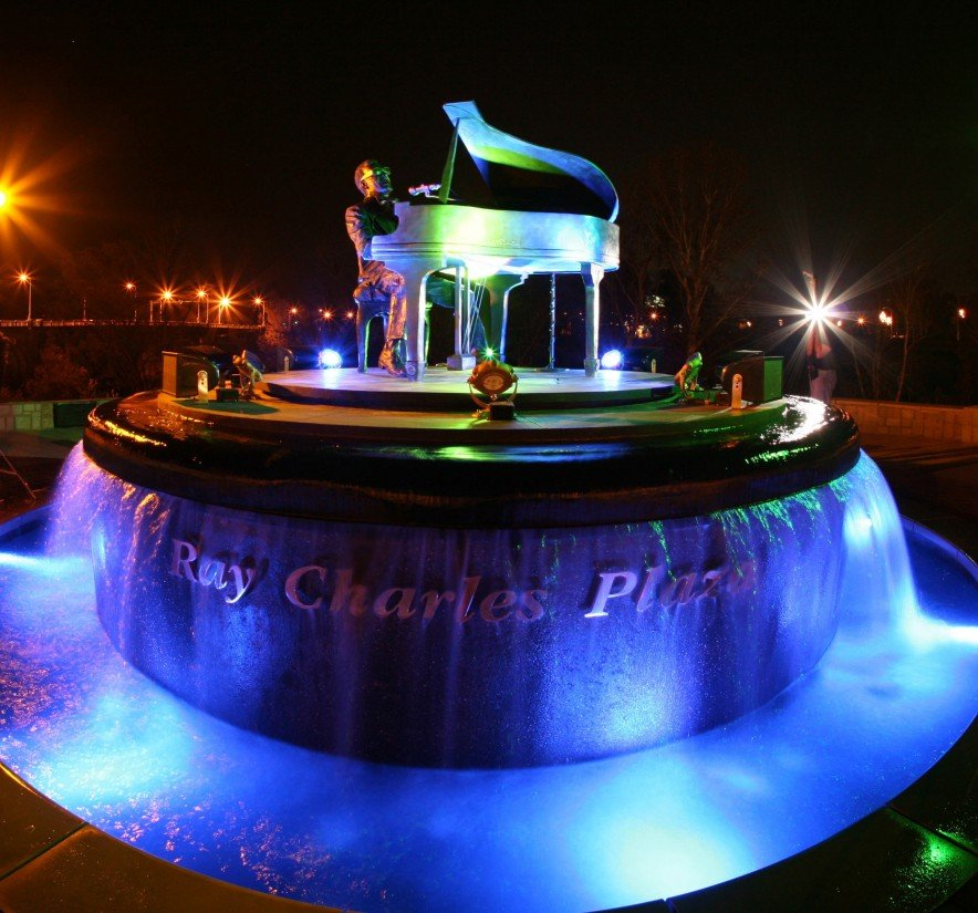 Ray Charles Plaza at night