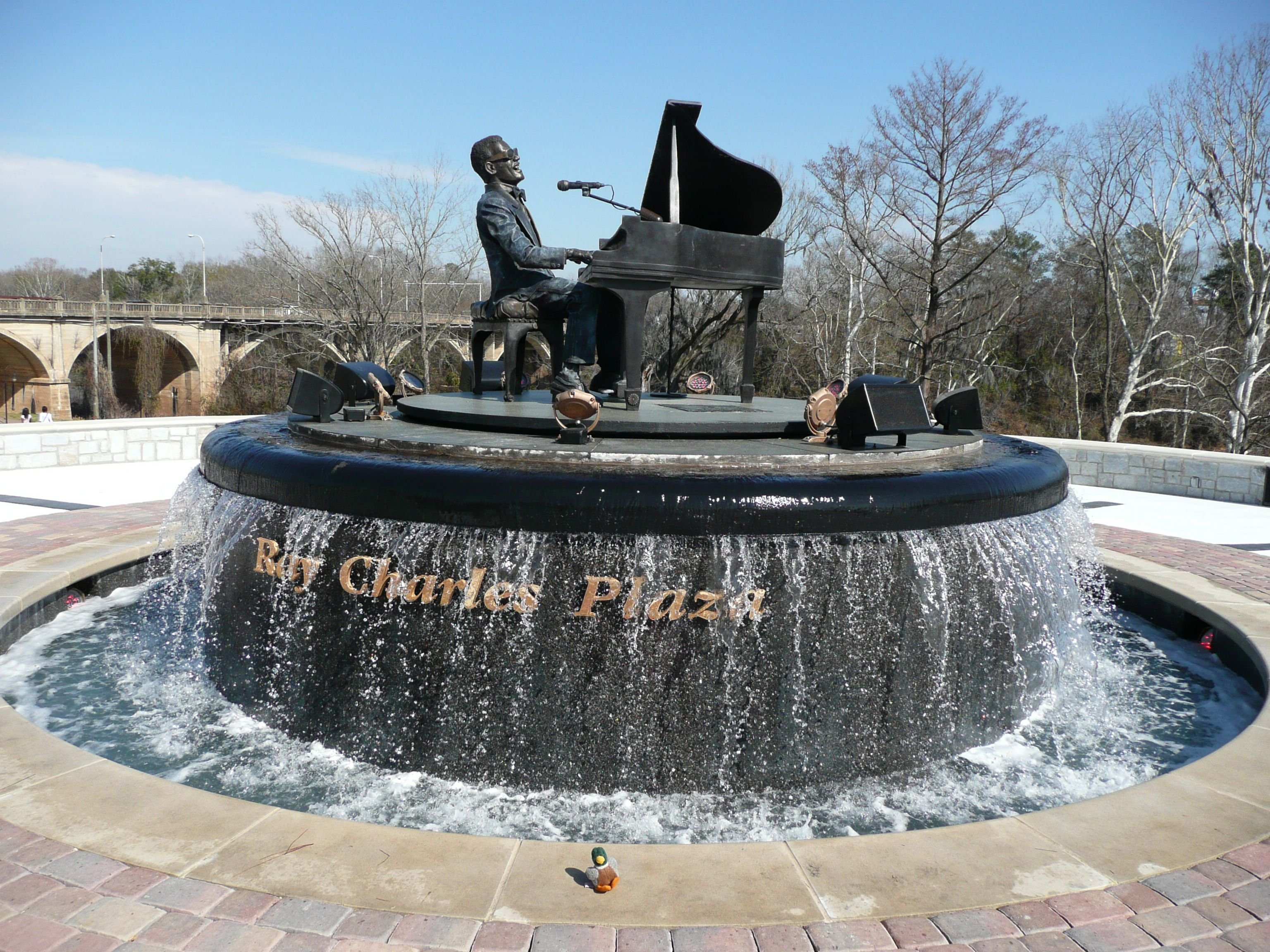 Ray Charles Plaza in throughout the day