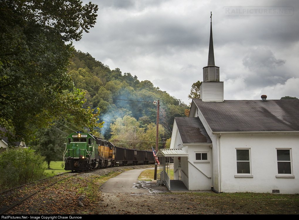 The train in operation passing Old Glory Freewill Baptist Church in Winifrede, WV. Photo by Chase Gunnoe 2014
