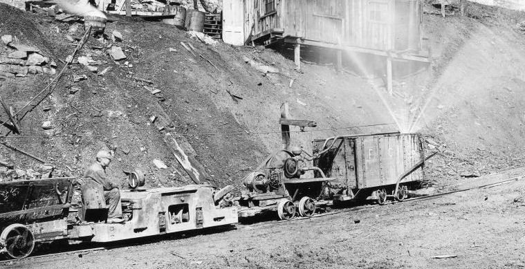Image of rail cart from a mine on the Winifrede Railroad in the early 20th century. Photo by Mining Artifacts