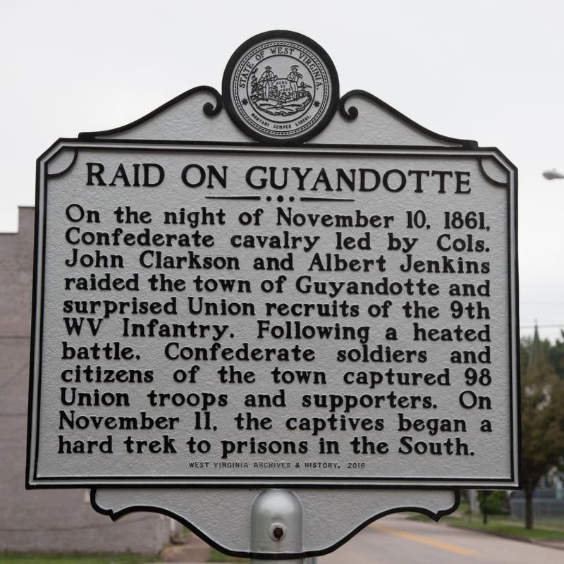 This marker commemorating the Battle of Guyandotte was installed on Main Street by West Virginia Archives & History in 2016. Image obtained from the Historical Marker Database.