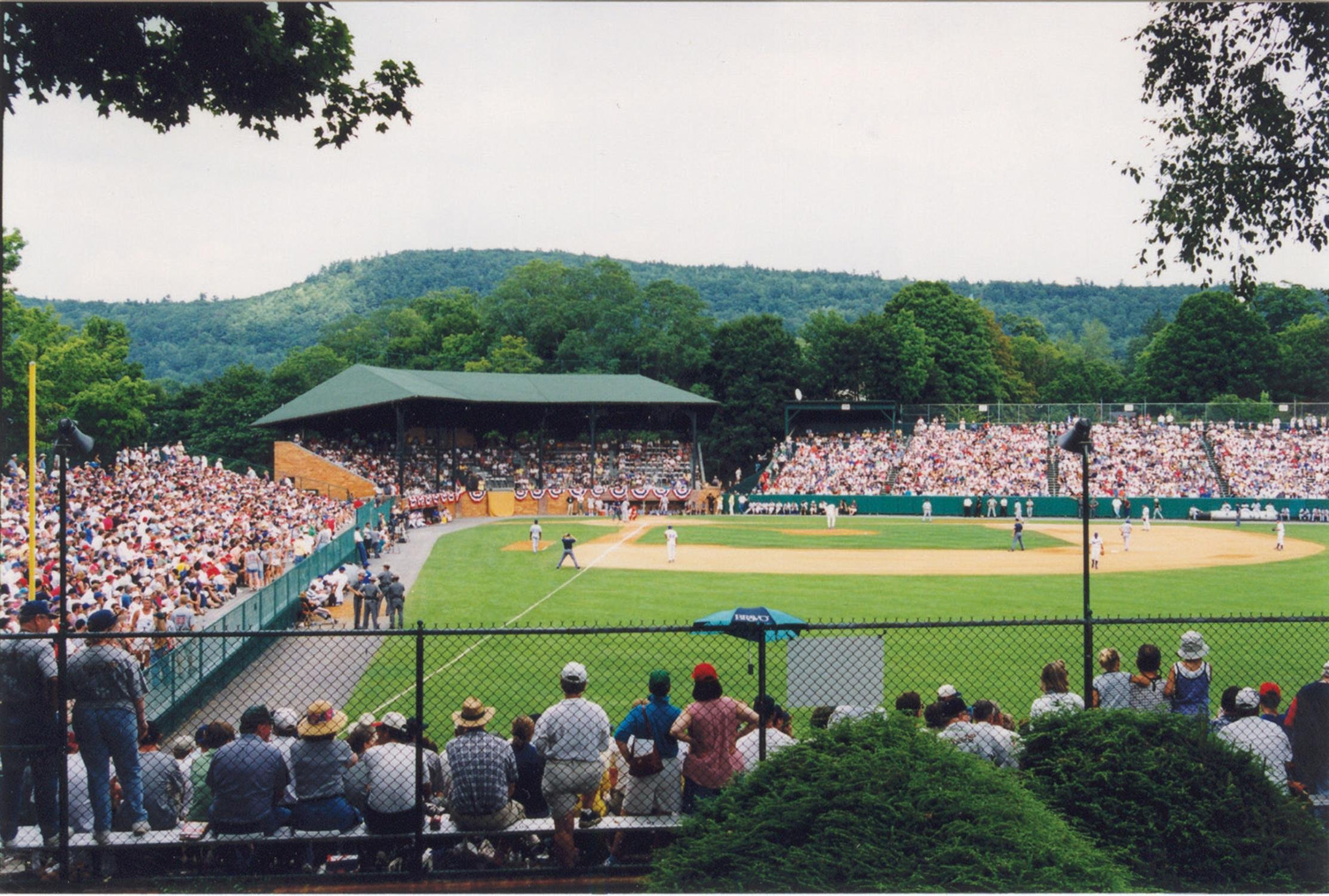 View from behind the left field fence during one of the many games played each year.