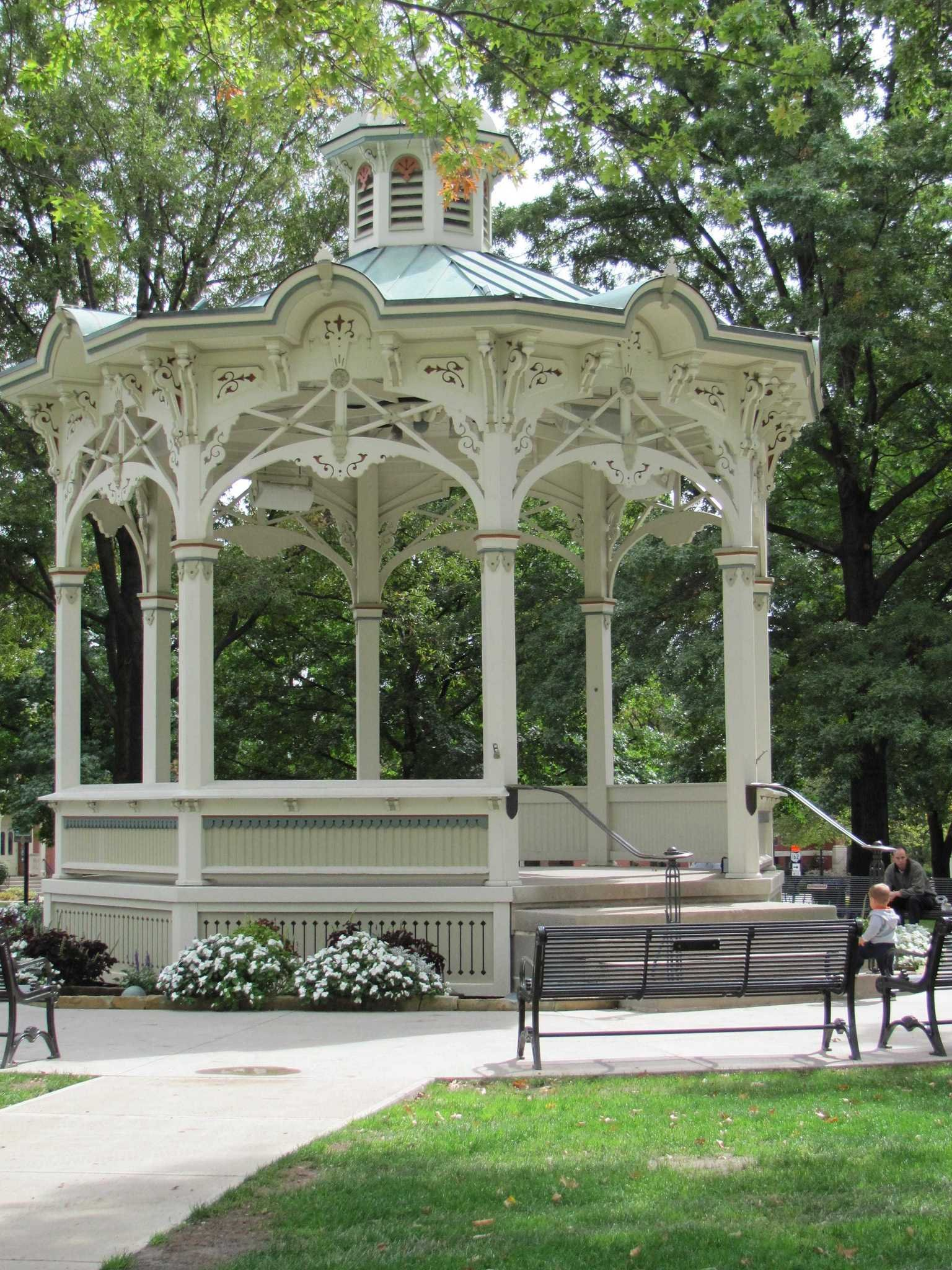 The Medina Gazebo (in the middle of uptown park) during the summertime.