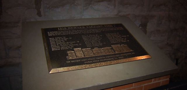 In 2013, Newark commemorated the 1910 fire with this plaque that bears the names of the victims