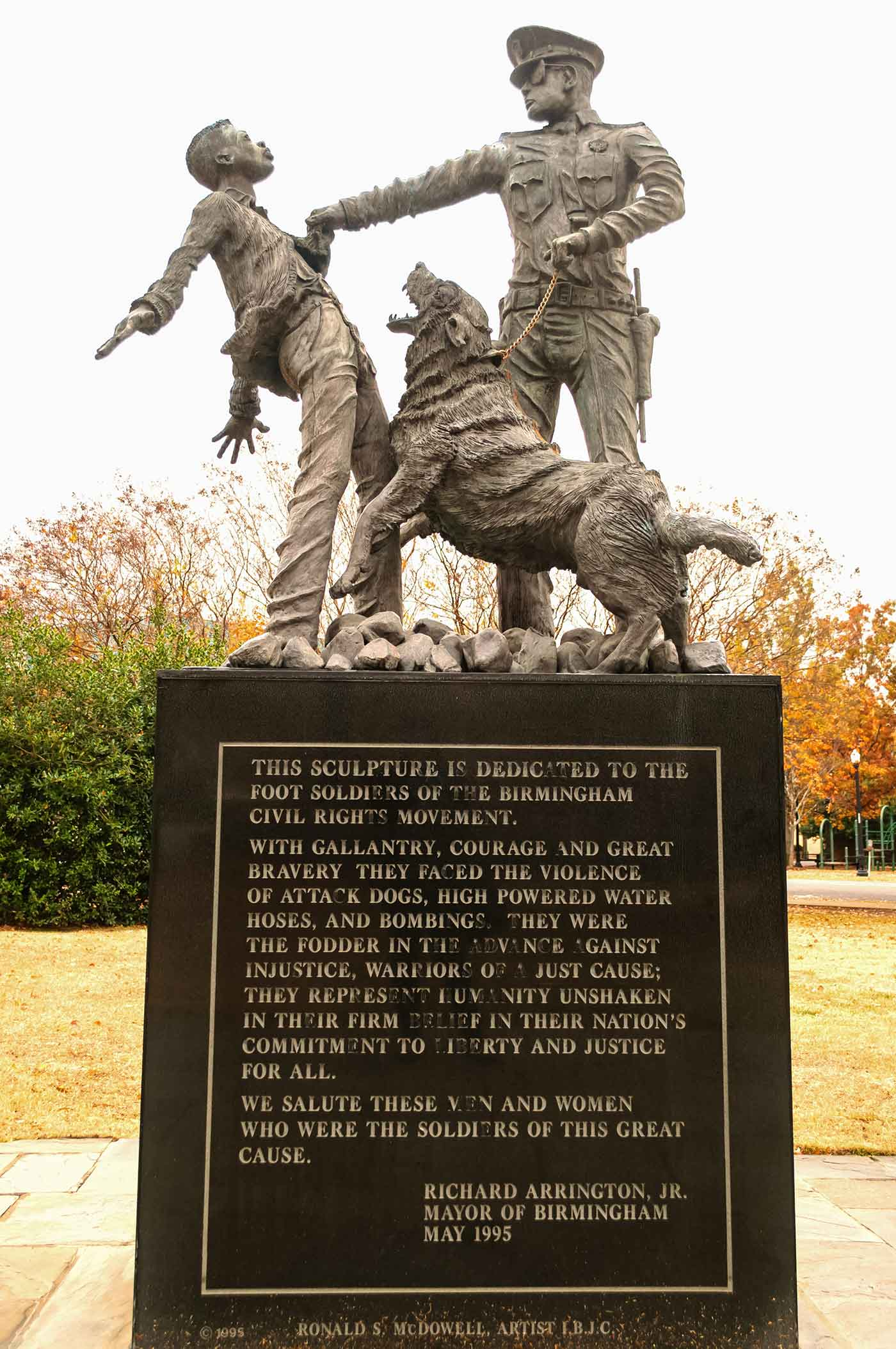 The Foot Soldier Statue, located in Kelly Ingram Park, Birmingham, Alabama
