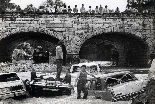 A photograph of the destruction caused by the 1981 Memorial Day Floods.