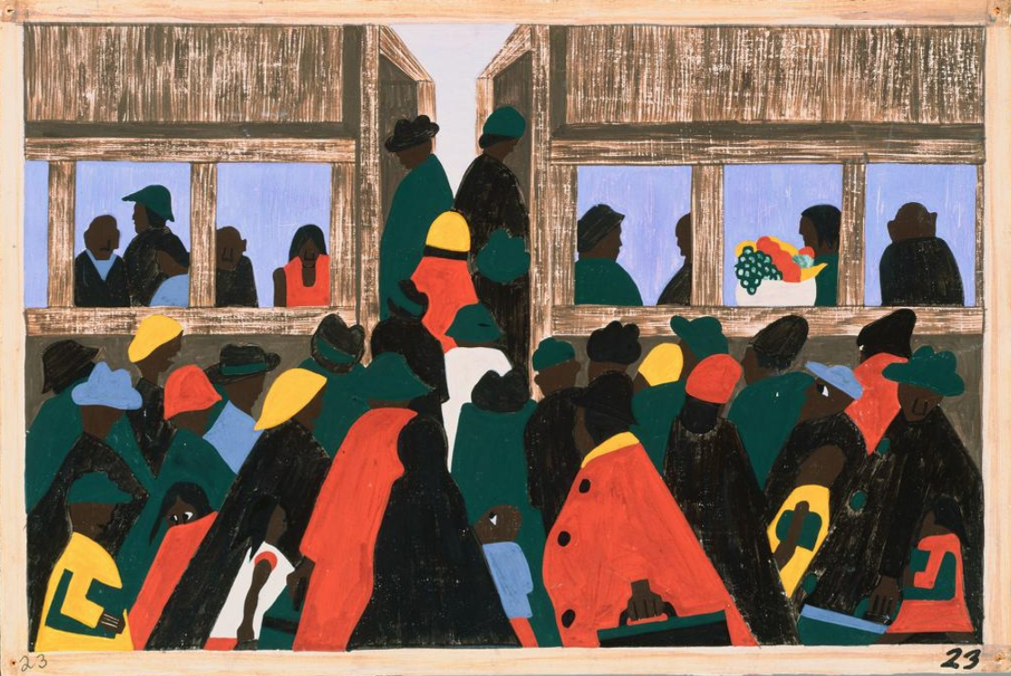 This work by Jacob Lawrence as part of his Migration Series