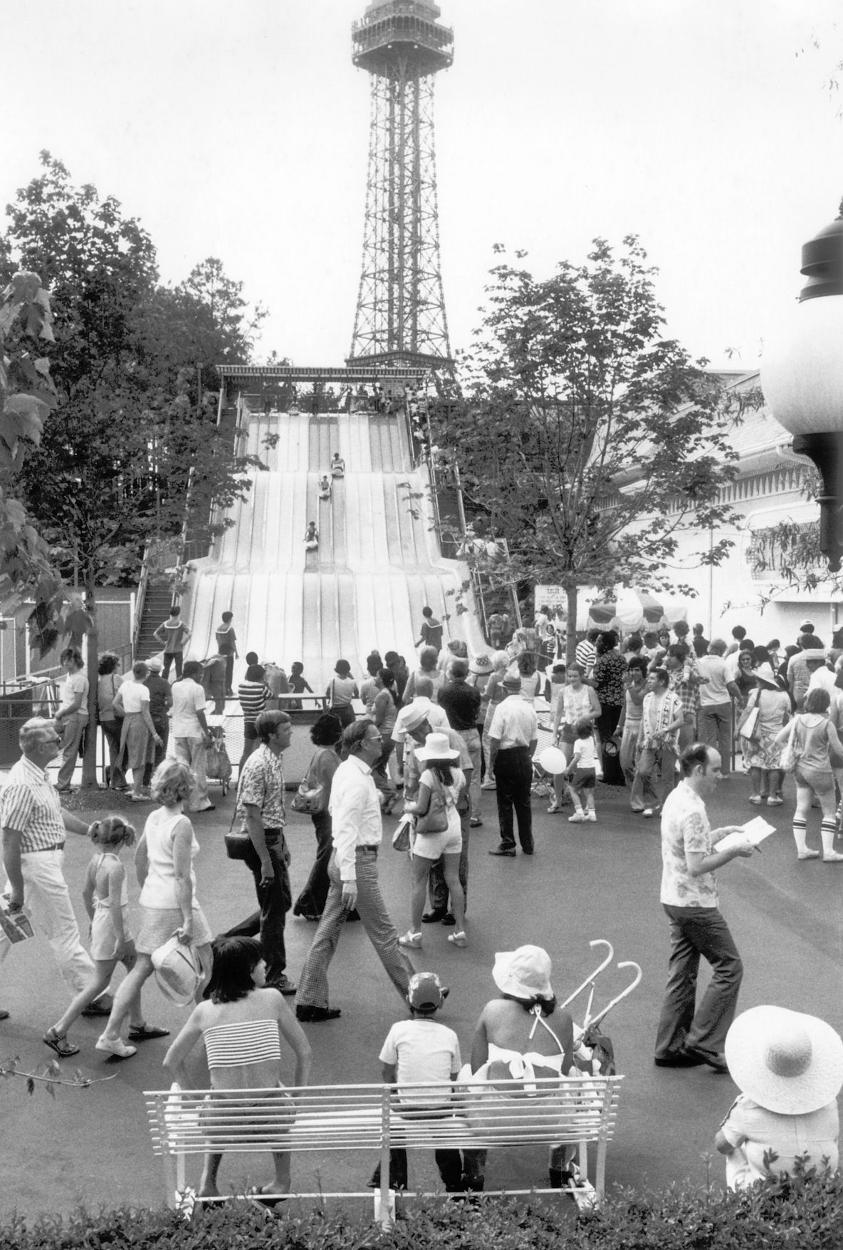 This is a photograph from opening day in 1975 of the Eiffel Tower.