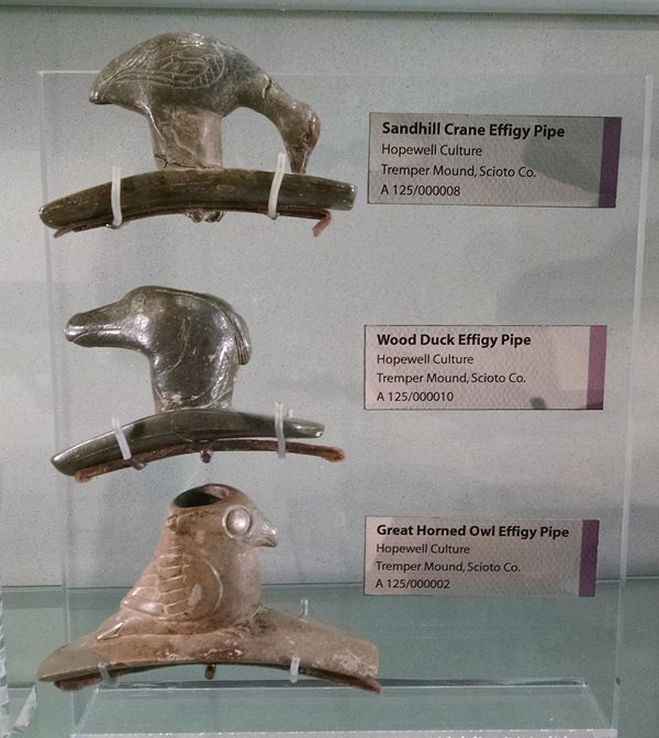 Effigy pipes excavated from Tremper Mound in 1915.
