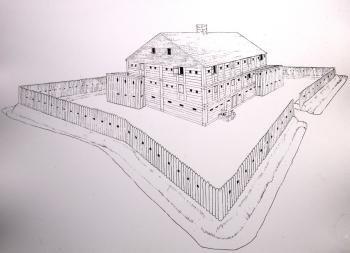 This is a drawing of Fort Dobbs.