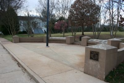 This photo shows where Samuel B. Moore's historical marker is located. It is surrounded by other governors and is located at Capitol Park in Tuscaloosa, Alabama.