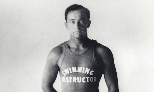 "George Freeth during his time as a swimming instructor when he created the ""crawl"" swim."