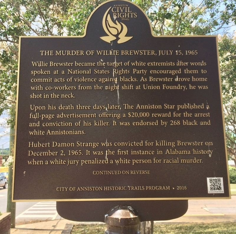Historical marker that tells the story of Mr. Brewster's death.