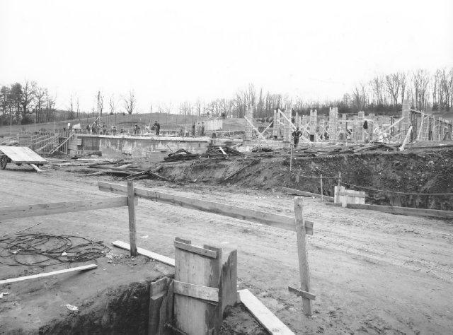 Building 1 under construction, winter 1938.