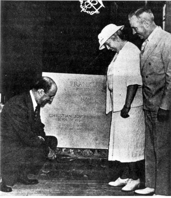 Henry Morgenthau, Secretary of the Treasury (left); Mrs. Helen Wilson (center); and Surgeon General Dr. Thomas Parran laying the cornerstone of Building 1, June 30, 1938.