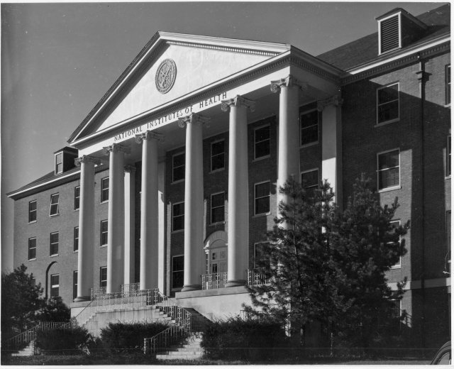 Photograph of Building 1 taken shortly after its completion, ca. 1940-1950. Photographer: Roy Perry.