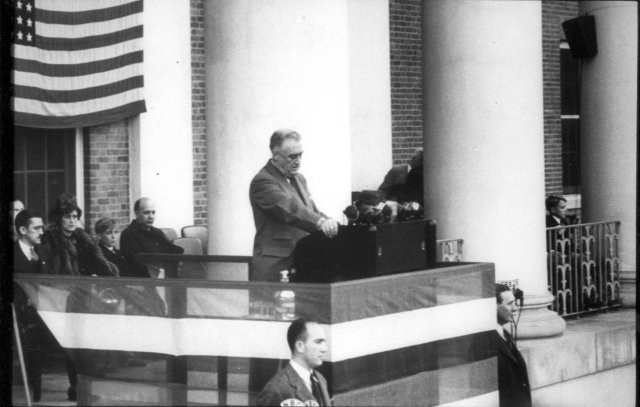 President Franklin Roosevelt delivers a speech dedicating the NIH campus in Bethesda from the portico of Building 1, October 31st, 1940.