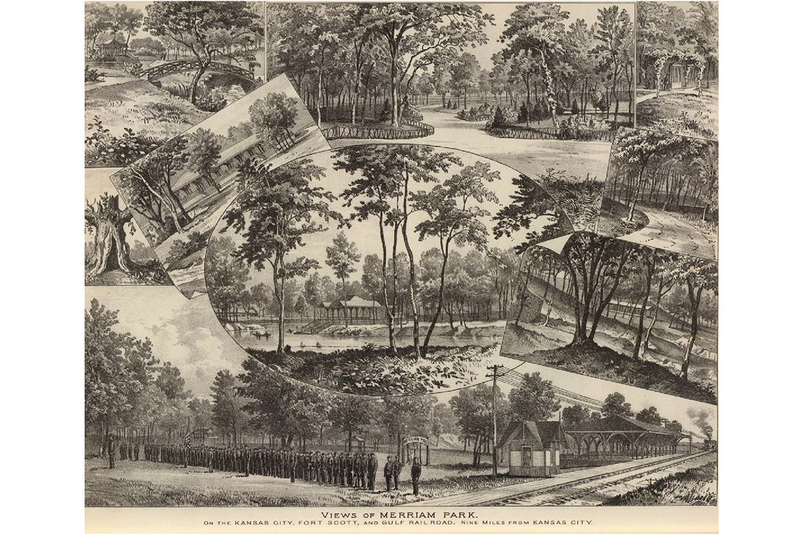 The image depicts a few of the many attractions found at Merriam Park. The bottom portion shows a line of people waiting at the railroad, while the other segments show various scenic areas that could be seen from within the park.