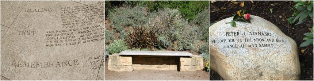 Bench placed within the National AIDS Memorial Grove in Golden Gate Park