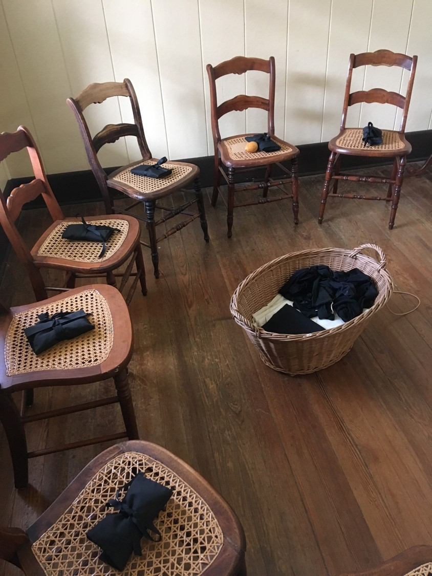 During community recreation time, the Sisters would have congregated in a circle mending or doing needlework while the Superior read letters or shared news.