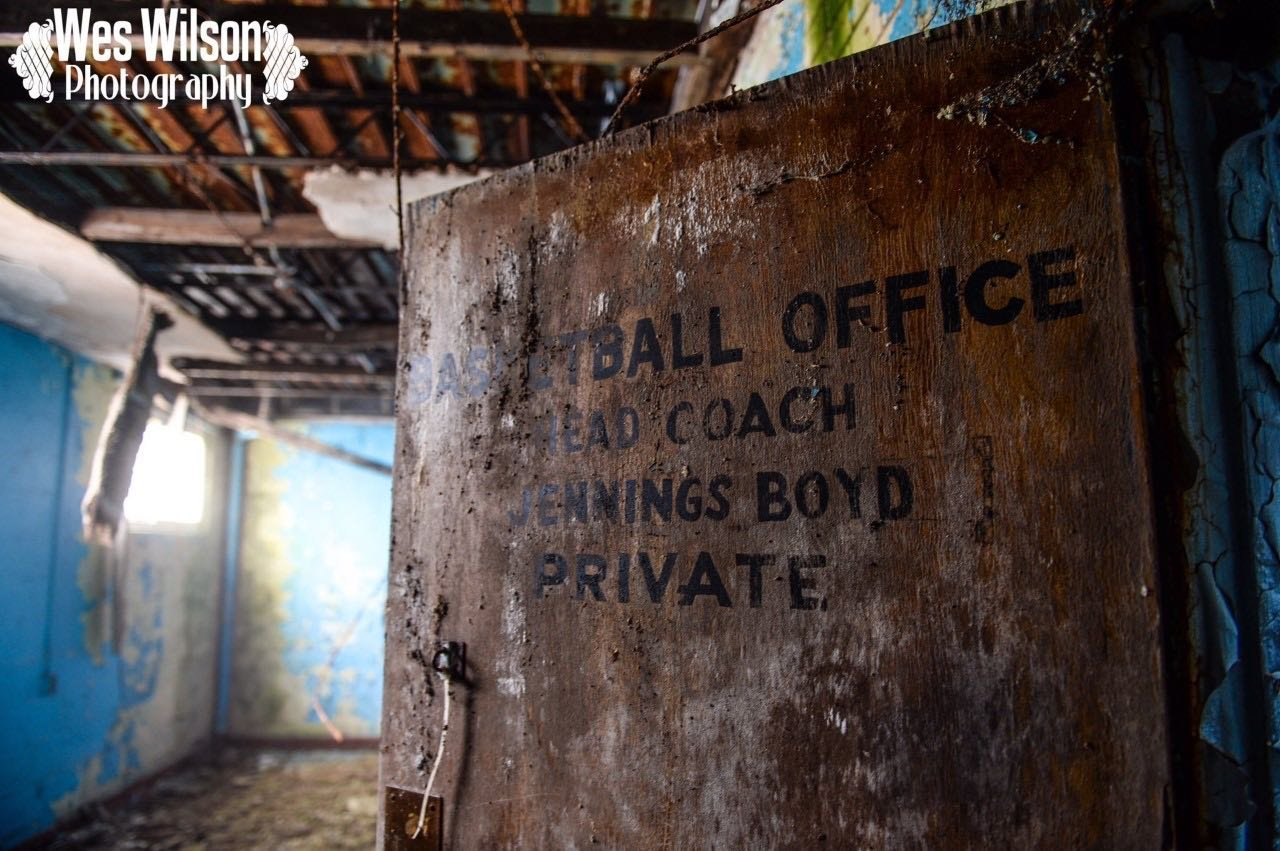 A recent photo of the office door of the well respected coach Jennings Boyd.