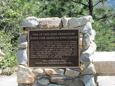 """This is the monument dedicated to the Chinese workers who worked on the first Transcontinental Railroad . It reads, """"Dedicated to the memory of thousands of Chinese who worked for Charles Crocker on the Central Pacific Railroad ."""