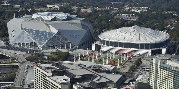 Mercedes-Benz Stadium (left) Georgia dome (right)