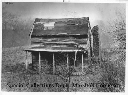 Toll House in 1950 by Guyan River. Around the time it was moved into Barboursville. Courtesy of Marshall University Special Collections.