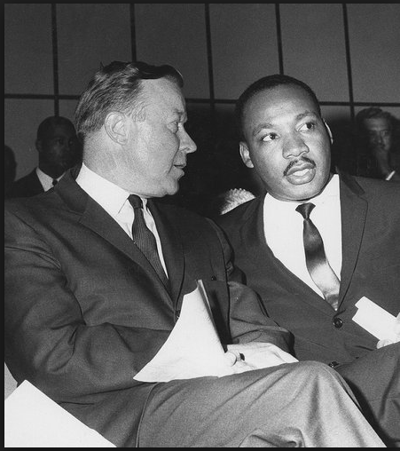 Walter Reuther with Martin Luther King Jr. supporting the Civil Rights Movement.